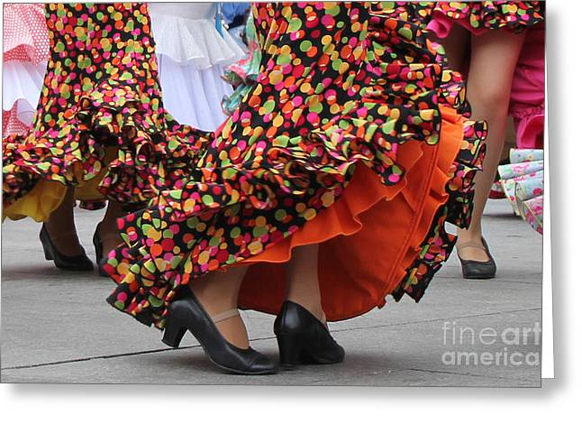 Traditional Dance Greeting Cards - Flamenco Dancer In Orange & Black Greeting Card by Holly C. Freeman