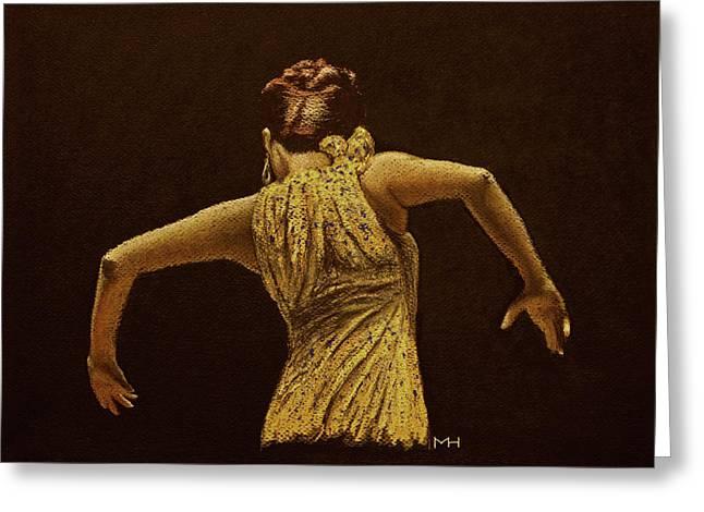 Flamenco Dancer In Yellow Dress Greeting Card by Martin Howard