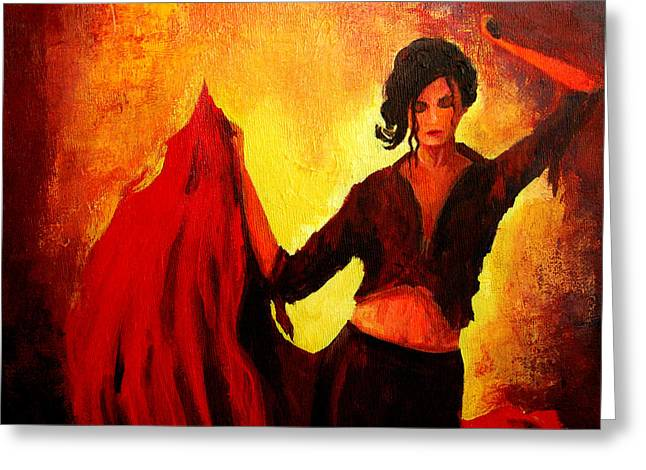 Small Canvas Greeting Cards - Flamenco Dancer Greeting Card by Patricia Awapara