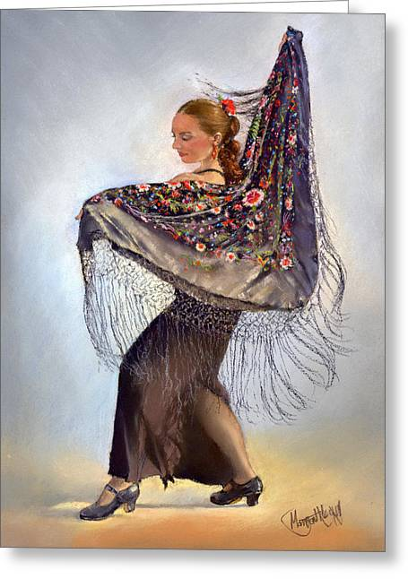 Pastel Shawl Greeting Cards - Flamenco dancer with shawl Greeting Card by Margaret Merry