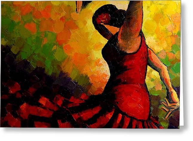 Female Body Greeting Cards - Flamenco Greeting Card by Mona Edulesco