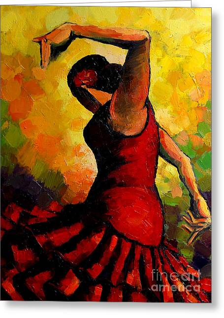 Composition Greeting Cards - Flamenco Greeting Card by Mona Edulesco