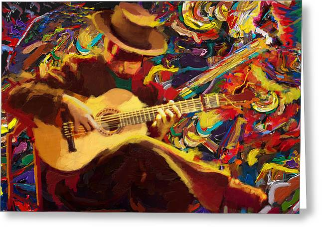 Corporate Art Greeting Cards - Flamenco Guitarist Greeting Card by Corporate Art Task Force
