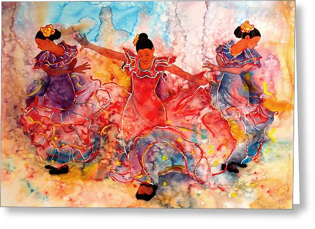 Flamenco Greeting Card by John YATO