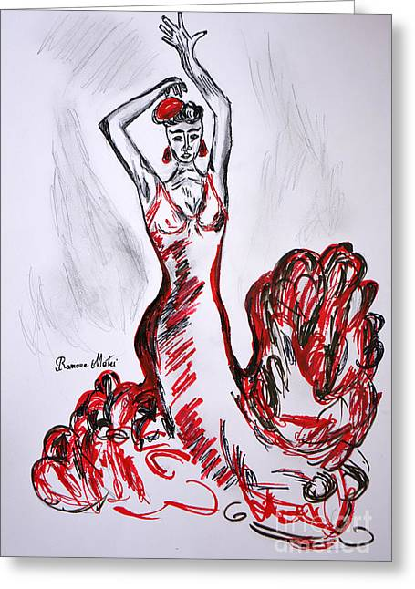 Ballet Dancers Drawings Greeting Cards - Red Flamenco  Greeting Card by Ramona Matei