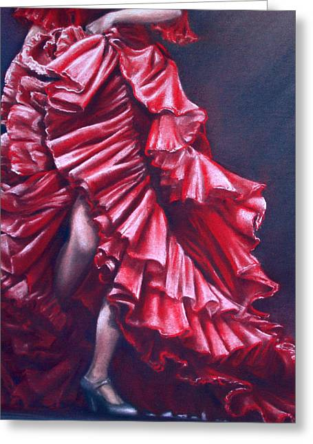 Cushion Pastels Greeting Cards - Flamenco Greeting Card by Rosemary Colyer