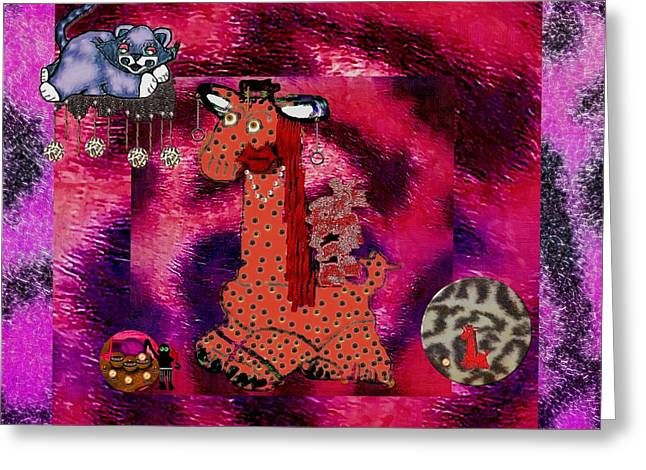 Fur Balls Greeting Cards - Flamenco Unicorn And Her Cat Greeting Card by Pepita Selles