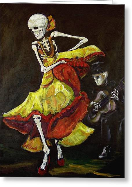 Des Paintings Greeting Cards - Flamenco VI Greeting Card by Sharon Sieben