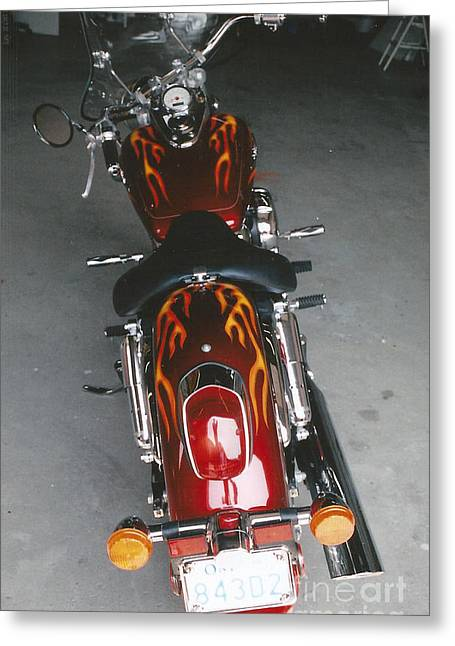 Motorcycles Pyrography Greeting Cards - Flames 2 Greeting Card by Steve Knapp