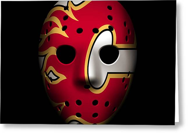 Flame Greeting Cards - Flames Goalie Mask Greeting Card by Joe Hamilton