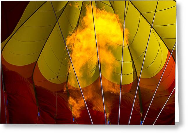 Ballooning Greeting Cards - Flames heating up hot air balloon Greeting Card by Garry Gay