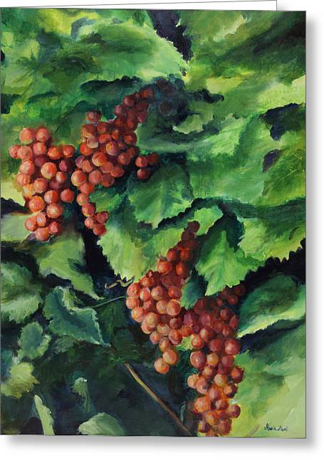 Grape Vine Greeting Cards - Flames in the Vineyard Greeting Card by Maria Hunt