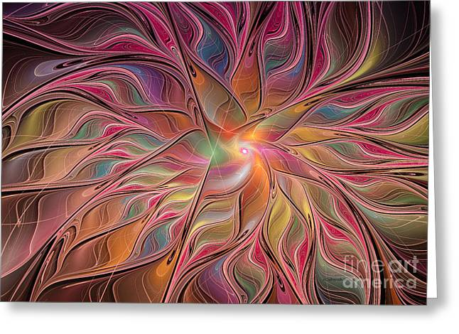 Flames Of Happiness Greeting Card by Deborah Benoit