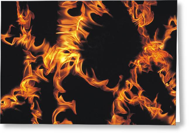 Action Photography Greeting Cards - Flames Greeting Card by Panoramic Images
