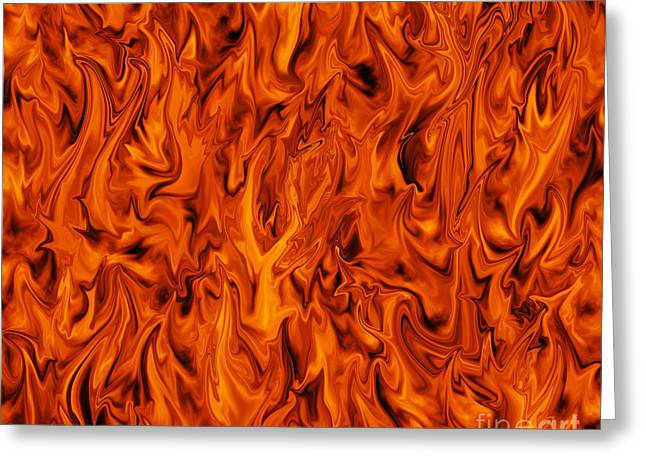 Incarnation Digital Art Greeting Cards - Flames Greeting Card by Sari ONeal