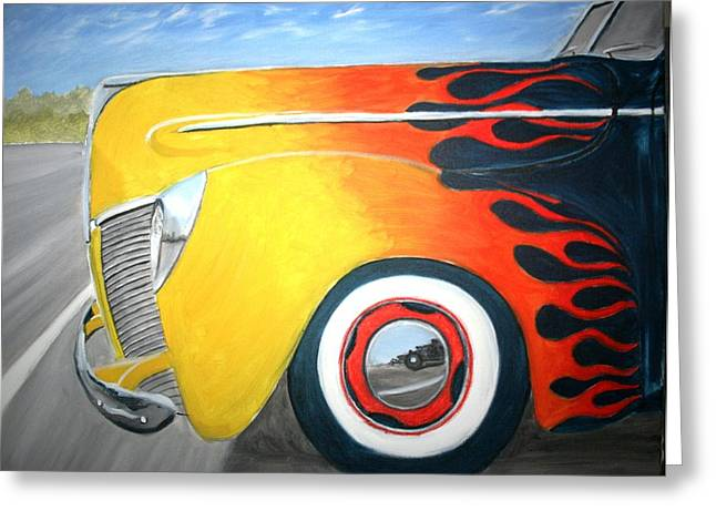 Photorealism Greeting Cards - Flames Greeting Card by Stacy C Bottoms