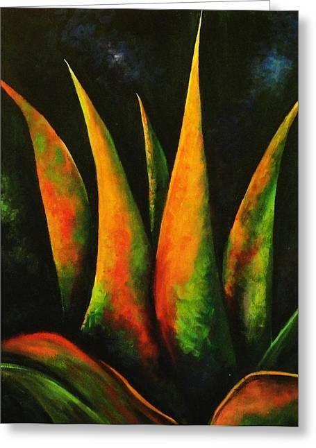 Flaming Aloe Greeting Card by Migdalia Bahamundi