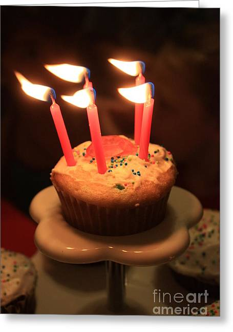 Candle Stand Greeting Cards - Flaming Birthday Cupcake Closeup Greeting Card by Robert D  Brozek