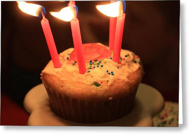 Flaming Birthday Cupcake Closeup Greeting Card by Robert D  Brozek