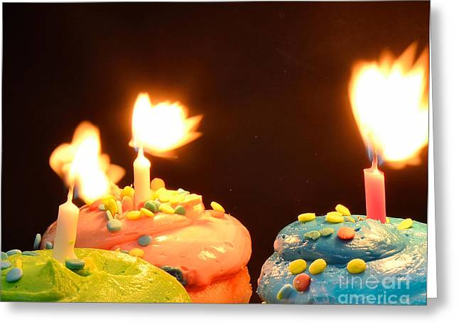 Flaming Cake Greeting Card by Timothy OLeary