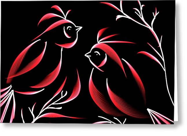 Maria Urso Digital Art Greeting Cards - Flaming Cardinals Greeting Card by Maria Urso