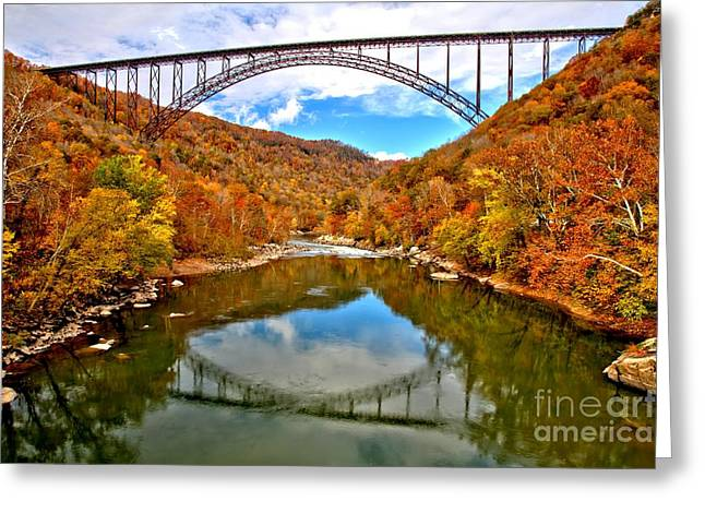 Famous Bridge Greeting Cards - Flaming Fall Foliage At New River Gorge Greeting Card by Adam Jewell