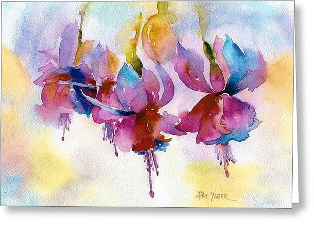 Flaming Fuchsias Greeting Card by Pat Yager
