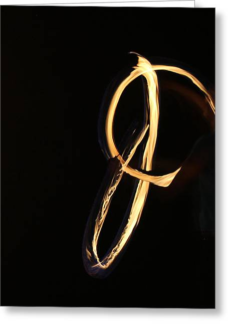 Letter J Greeting Cards - Flaming J Greeting Card by April Wietrecki Green