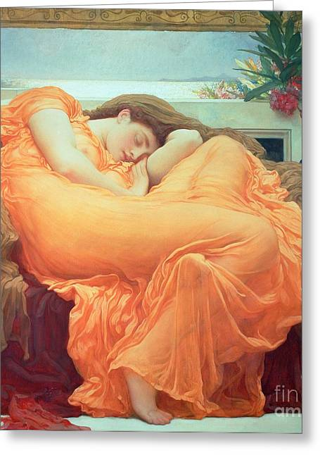 Draped Greeting Cards - Flaming June Greeting Card by Frederic Leighton
