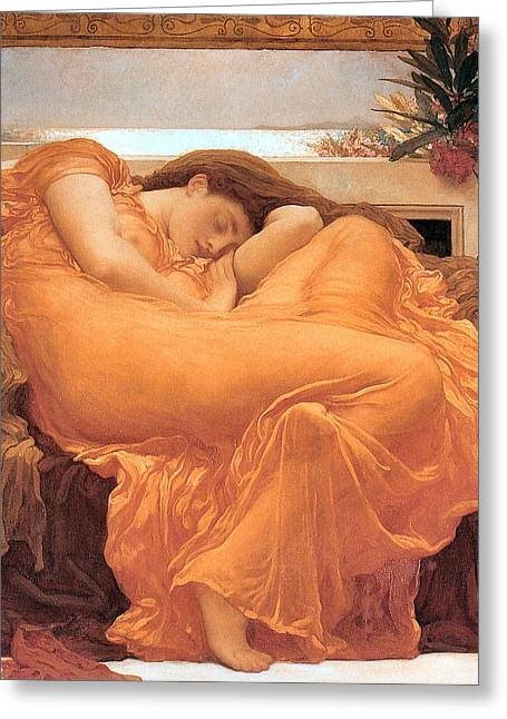 Frederick Greeting Cards - Flaming June Greeting Card by Lord Frederick Leighton