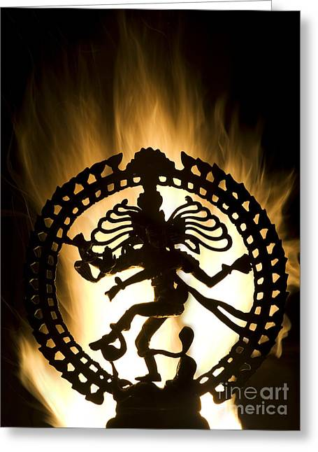 Burning Statue Greeting Cards - Flaming Natarja Greeting Card by Tim Gainey