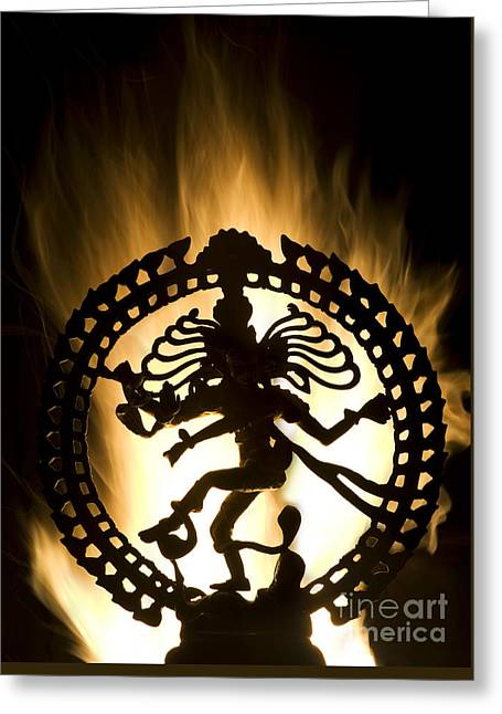 Flaming Natarja Greeting Card by Tim Gainey