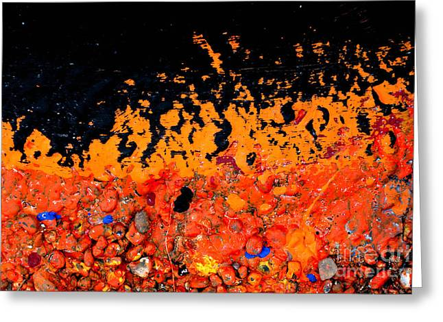 Rocks Greeting Cards - Flaming paint splatters Greeting Card by Amy Cicconi