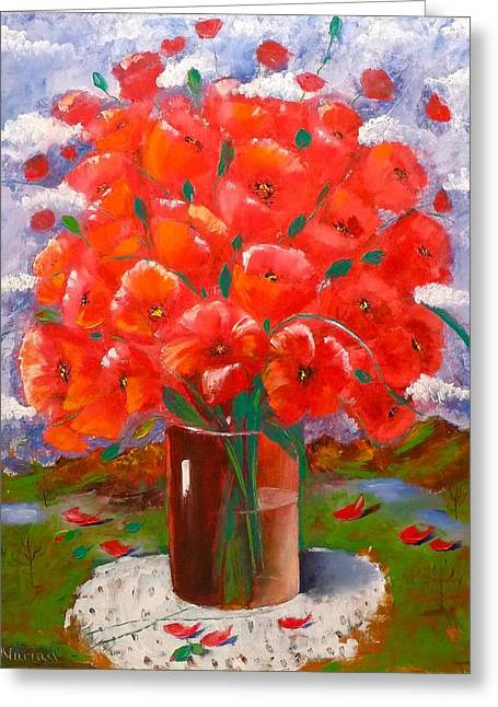 Glass Vase Greeting Cards - Flaming Poppies Greeting Card by Marina Wirtz
