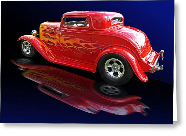 1930s Decor Greeting Cards - Flaming Roadster Greeting Card by Gill Billington