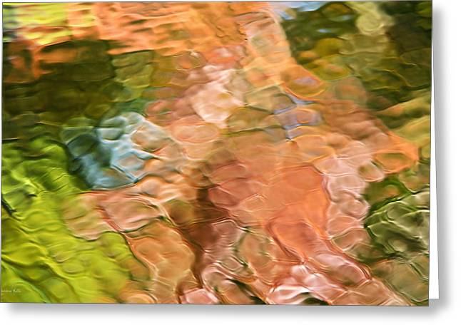 Mosiac Greeting Cards - Salmon Mosaic Abstract Greeting Card by Christina Rollo