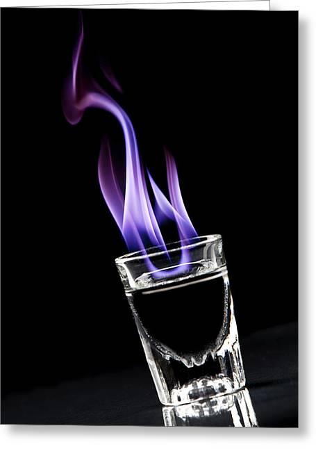 Booze Greeting Cards - Flaming Sambuca Greeting Card by Samuel Whitton