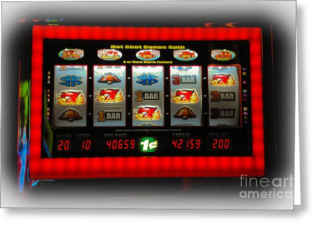 Speculate Greeting Cards - Flaming Sevens Slots Greeting Card by Gary Keesler
