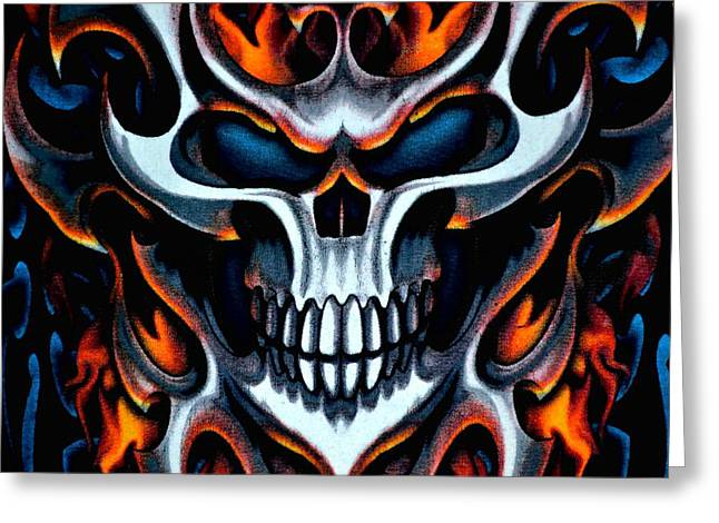 Ghostly Greeting Cards - Flaming Skull Greeting Card by Deena Stoddard
