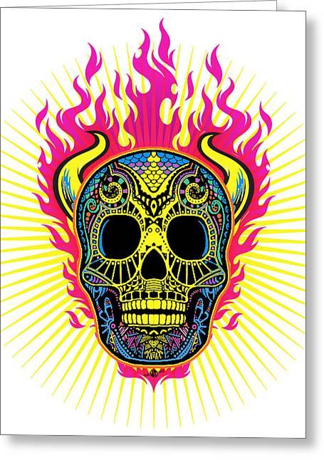 Face Tattoo Mixed Media Greeting Cards - Flaming Skull White Greeting Card by Tony Rubino