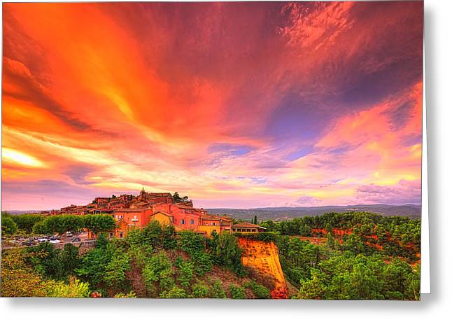 Provence Village Greeting Cards - Flaming Sky Greeting Card by Midori Chan