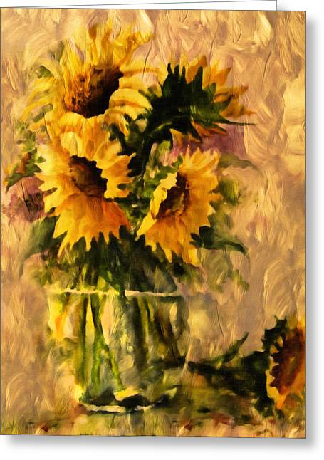 Beauty Greeting Cards - Flaming Sunflowers Vintage Expressionism Greeting Card by Georgiana Romanovna