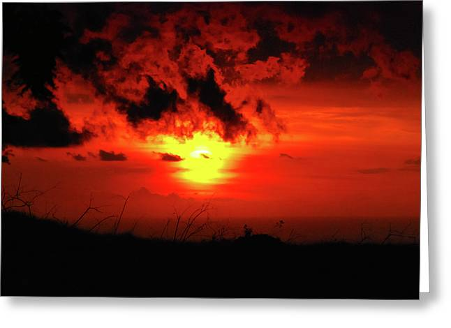Flaming Sunset Greeting Card by Christi Kraft