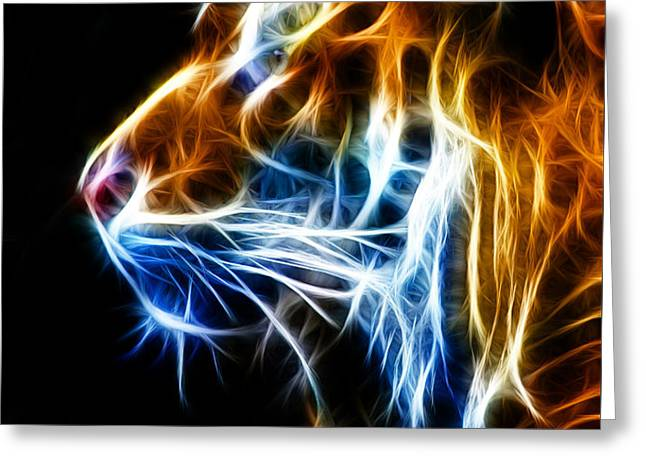Flaming Tiger Greeting Card by Shane Bechler