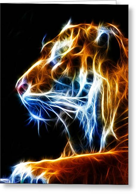 Syberian Greeting Cards - Flaming Tiger Greeting Card by Shane Bechler