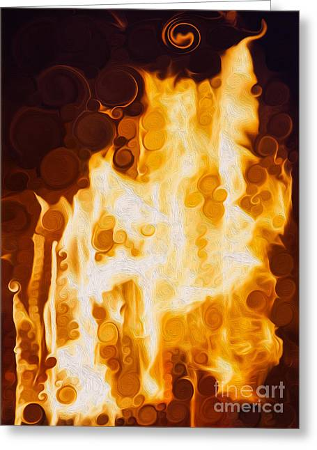 Pateros Greeting Cards - Flaming Waters Greeting Card by Omaste Witkowski