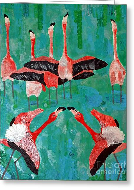 Pink Reliefs Greeting Cards - Flamingo 3 Greeting Card by Vicky Tarcau