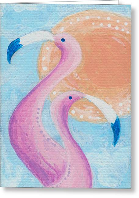 Flamingo Dancers Greeting Card by Aprille Lipton
