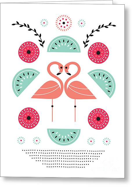 Watermelon Greeting Cards - Flamingo Flutter Greeting Card by Susan Claire