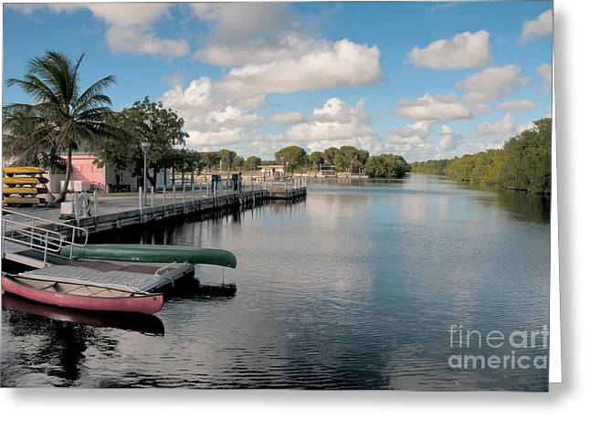 Canoe Photographs Greeting Cards - Flamingo Harbor, Florida Greeting Card by Mark Newman